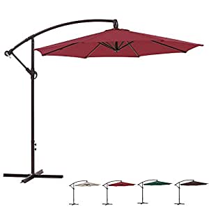 Patio Tree 10-ft Offset Hanging Patio Umbrella Market Cantilever Outdoor Umbrella,Red