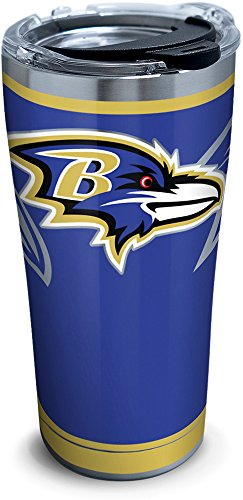 (Tervis 1299987 NFL Baltimore Ravens Rush Stainless Steel Tumbler With Lid, 20 oz, Silver)