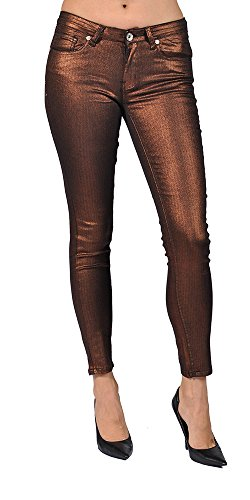Women's Solid Coated Copper Skinny Jeans (3)