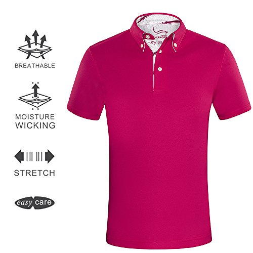 EAGEGOF Men's Shirts Red Short Sleeve Tech Performance Golf Polo Shirt Loose Fit X-Large