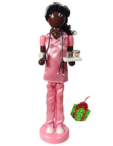 Distinctive Designs African American Nurse Large Unique Decorative Holiday Season Wooden Christmas Nutcracker & Bonus Tree Ornament