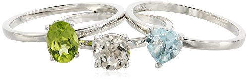 Peridot Topaz Jewelry Set (Sterling Silver Sky Blue Topaz And Rock Crystal Accented Set of 3 Stackable Rings, Size 7)