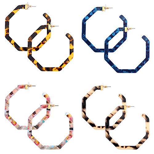 (JieyueJewelry Acrylic Earrings Set for Women Girls, Geometric Resin Hoop Earrings Lightweight Bohemia Statement Earrings Mottled Stud Earrings Acetate Earrings (A:)