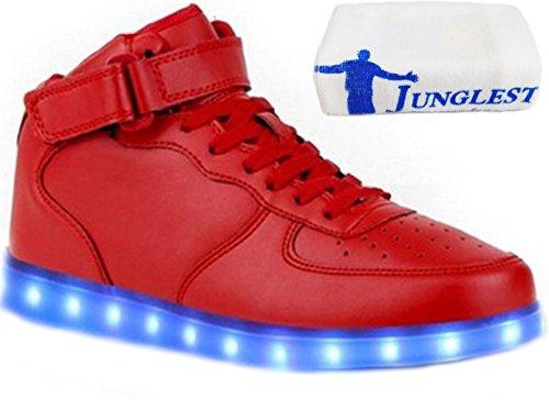 (Present:kleines Handtuch)JUNGLEST Damen Hohe Sneaker Weiß USB Aufladen LED Leuchtend Fasching Partyschuhe Sportsc c13