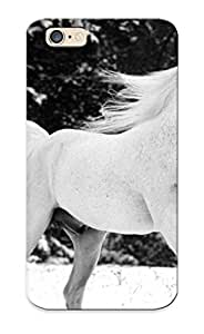 Fashion Tpu Case For Iphone 6- Animals Horses Black White Bw Landscapes Nature Fields Pasture Trees Forests Winter Snow Seasons Motion Face Eyes Defender Case Cover For Lovers