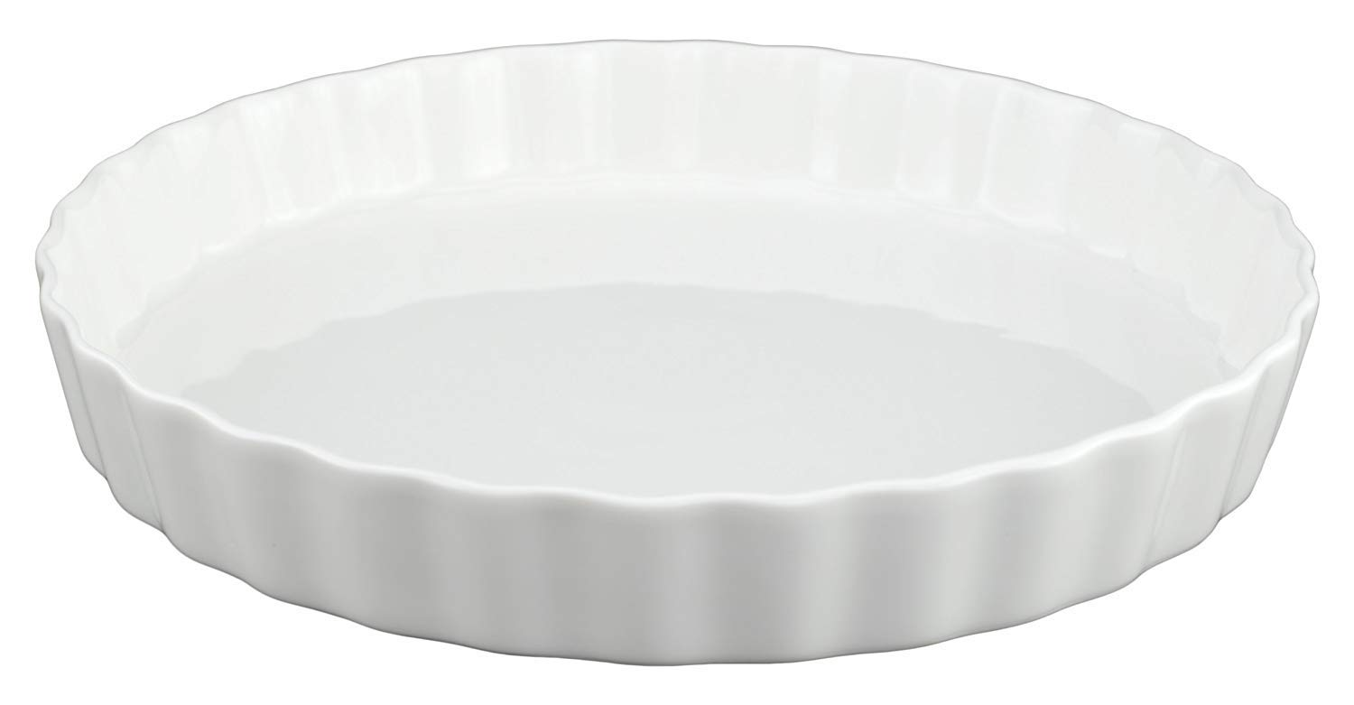 GOURMEX White, Round, Fluted Quiche Baking Dish | Ceramic Nonstick Pan | Perfect for Baking Tart Pies, Creme Brulee, Custard Dishes and Cheesecake | Porcelain 10 Inch Pan