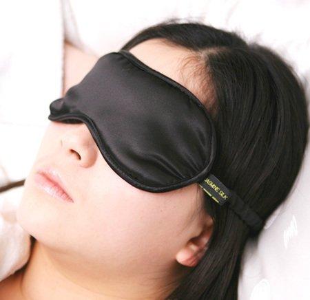 Jasmine Silk Luxus 100% Seide Schlafmaske Augenmaske Reisen Silk eye mask - Schwarz