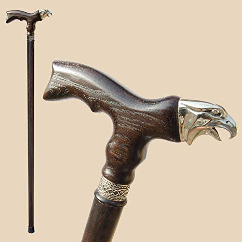 - Fashionable Wooden Walking Stick - Handmade EAGLE Cane with Unique Pommel - Custom Length 32