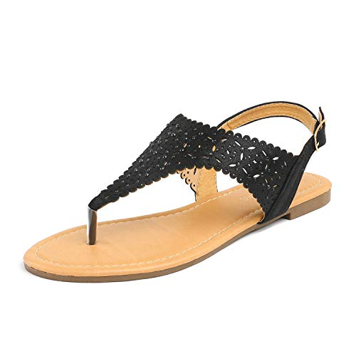 Ladies Sandals Rhinestones - LE MIU MEDINIE Women Rhinestone Casual Wear Gladiator Flat Cut Out Sandals,6 B(M) US,Black