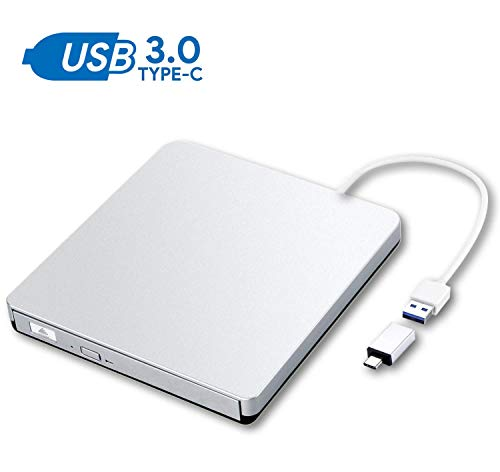 ZSMJ External DVD Drive, USB 3.0 Portable CD DVD +/-RW Burner Slim DVD/CD Writer Player High Speed Data Transfer Optical Drive for MacBook Air, MacBook Pro, Mac OS, PC Laptop (Sliver) (Cd Player For Imac)
