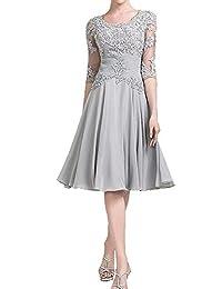 JudyBridal Women Chiffon Mother Of The Bride Groom Dress With Half Sleeves