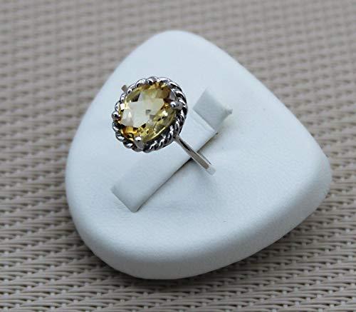 Anillo de plata de rodio fino de citrino - Piedra preciosa semipreciosa, amarillo claro