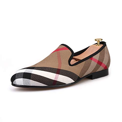 - HI&HANN Plaid Canvas Loafers Men 's Casual Shoes Smoking Slipper-168126-10.5-Khaki