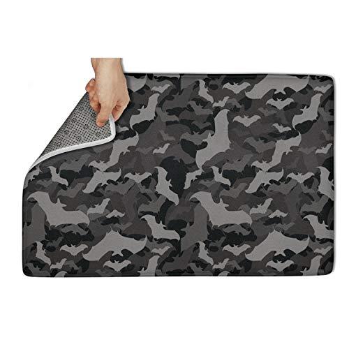NAIT HOME Black Gray camo bat Halloween Doormat 25