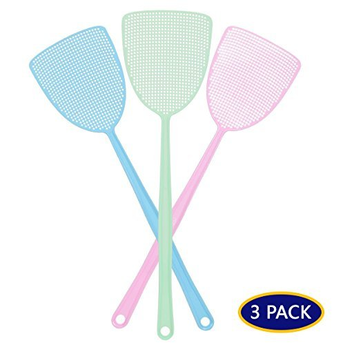- Fly Swatter, Strong Flexible Manual Swat Set Pest Control, Assorted Colors, 3 Pack