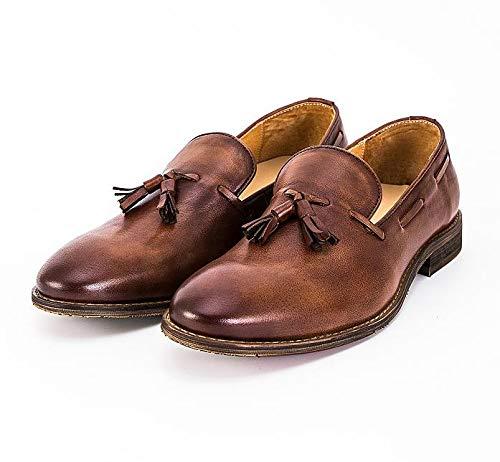 Ruanyi Weinlese Echtes Leder Müßiggänger Mokassins Quasten Schuhe Entwurfs Marken Handgemachte Leder Schuhe Quasten für Männer (Farbe : Braun, Größe : 40 EU) Brass ad45e9