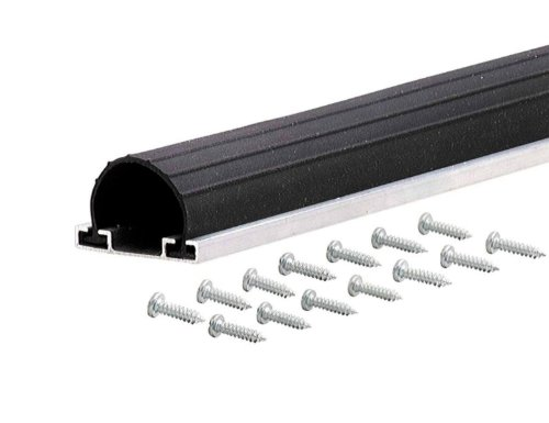 M-D Building Products 87668 18-Feet Universal Aluminum and Rubber Garage Door Bottom, Black Black Garage Door Threshold Seal