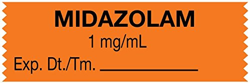 MedValue Anesthesia Tape, Midazolam 1 mg/mL, 1-1/2'' x 1/2'', Orange - 500 Inches Per Roll by MedValue
