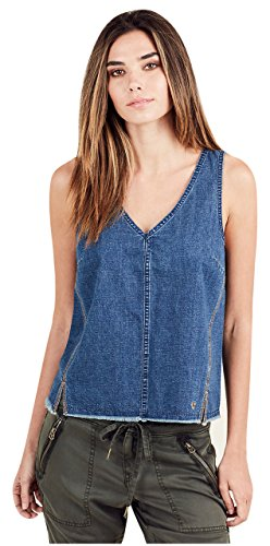 True Religion Women's Raw Hem Denim Tank Top in Indigo (Small) - Classic Raw Denim