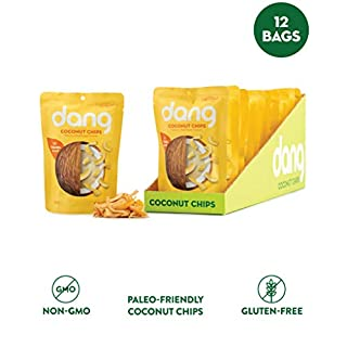 DANG Toasted Coconut Chips | Caramel Sea Salt | 12 Pack | Vegan, Gluten Free, Paleo Friendly, Non Gmo, Healthy Snacks Made With Whole Foods | 1.43 Oz Resealable Bags