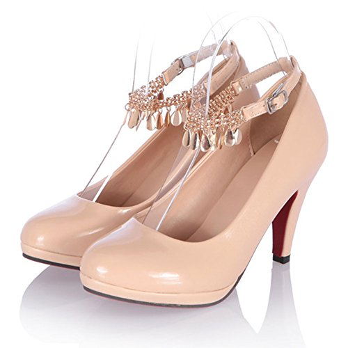 Easemax Femmes Bout Rond Chaîne Cheville Sangle Talons Hauts Pompes Chaussures Beige
