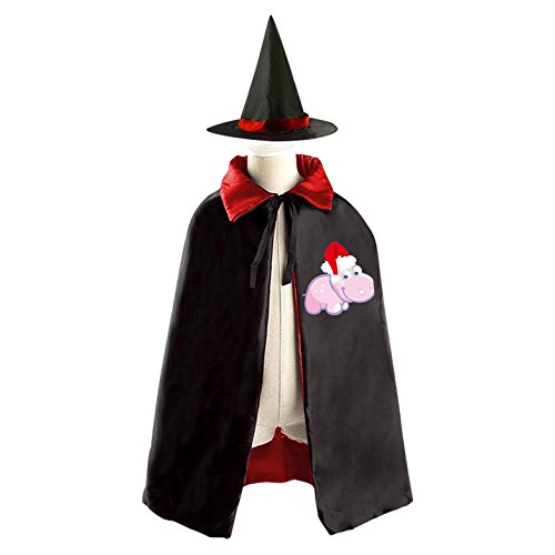 Hippo Costume Diy (DIY Hippo Merry Christmas Hat Costumes Party Dress Up Cape Reversible with Wizard Witch Hat)