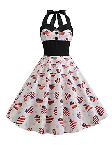 Women's Vintage USA American Flag Halter Dress 1950s Retro Cocktail Swing Dresses for July 4th Independence Day - July 4th Independence Day