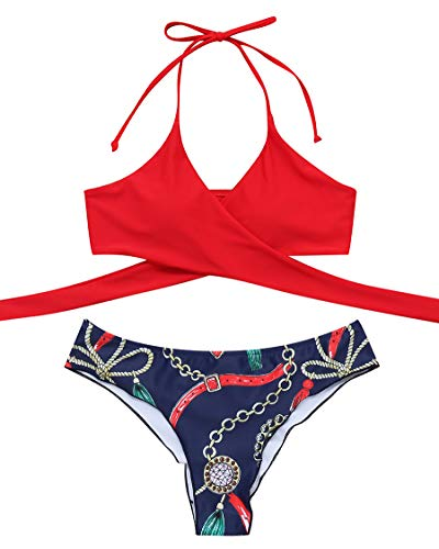 (MOSHENGQI Women Front Cross Halter Push up Bikini Printing Brazilian Tanga 2 Piece Cute Swimsuits(Small, Red79))