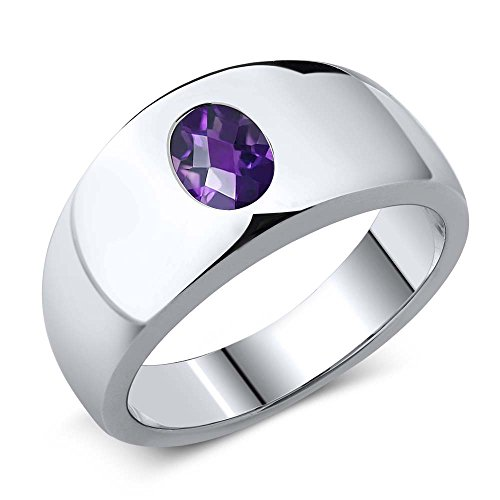 Gem Stone King 1.00 Ct Oval Checkerboard Purple VS Amethyst 925 Sterling Silver Men's Ring (Size 11)