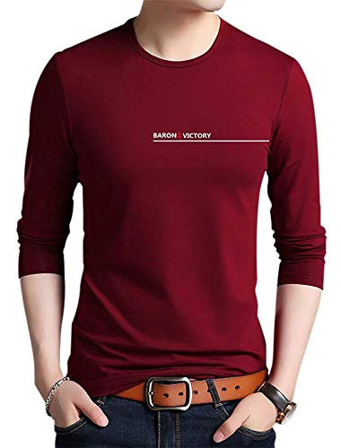 (CMLT Men's Premium Casual Slim Fit Long Sleeve Fashion Printed T-Shirts Cotton Shirts (Large, Wine Red) )
