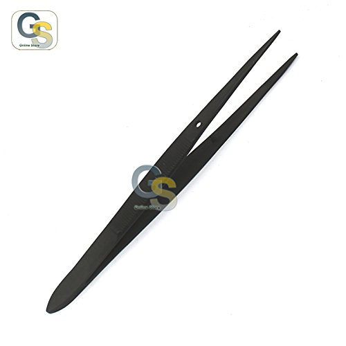 Splinter Forcep Tweezers - G.S Full Black Splinter Veterinary Nursing Forceps Tweezers 4.5