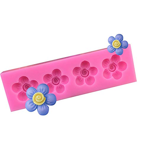 DuoYo 4 Even 5 Petals Flowers Silicone Molds Cake Baking Mold Chocolate Fondant Resin Polymer Clay Making