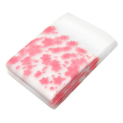 Monrocco 200 Pack Cherry Blossom Cellophane Bag Self Adhesive Plastic OPP Cookie Biscuit Candy Packaging Bags Party Favors