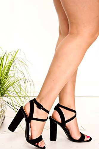 DND ANNA PU OPEN TOE CUTOUT SIDE AND BACK LOOK ANKLE STRAP WEDGES HEEL Blacknwsuede-m05-10 gVdqD2NB