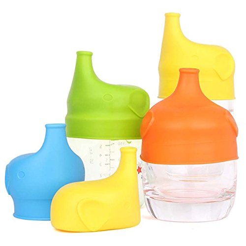 Cereal And Milk Costume - Pack of 2 Silicone Sippy Lids For Baby Training Drinking Converts any Cup or Glass to a Sippy Cup Makes Drinks Spillproof Reusable Durable