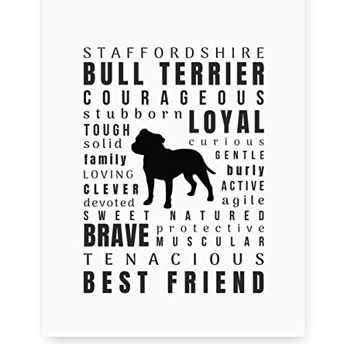 Staffordshire Bull Terrier Gifts Wall Art Print Decor (8x10 Unframed) Perfect Dog Lover Gift for a Staffy Mom