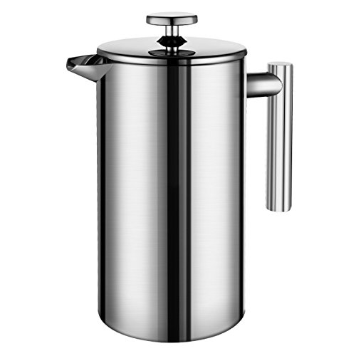 Miuly French Press, Double Wall 18/8 Stainless Steel Coffee & Tea Maker, 8 Cup, 1000ml, Hand-out set with 2 Additional Replacement Filter Screens