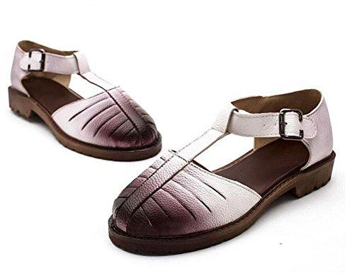 Zapatos planos Verano Mary Jeans Sandalias Retro Color Hueco Zapatos De Gran Tamaño 40/41/42/43 pink deluxe