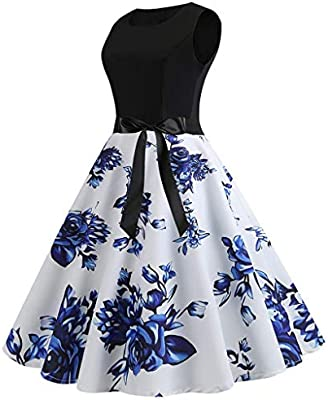 Vintage Sleeveless Dress Ladies Retro Elegant Dress Print Casual Bridesmaid High-Waist Pleated Dress Evening Party Prom Swing Dress with Bow for Women