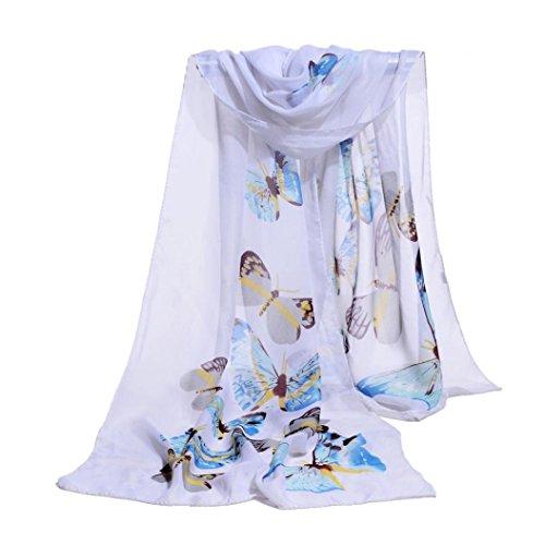 Scarf,Han Shi Women Fashion Butterfly Print Long Scarves Chiffon Soft Voile Wrap Shawl (L, White)