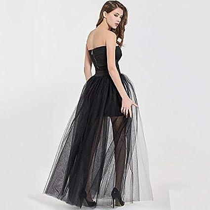 NVDKHXG 4Layers Falda superpuesta Negra Moda Falda Larga de tutú ...