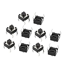 uxcell 10 Pcs 6mmx6mmx5mm Panel PCB Momentary Tactile Tact Push Button Switch 4 P DIP