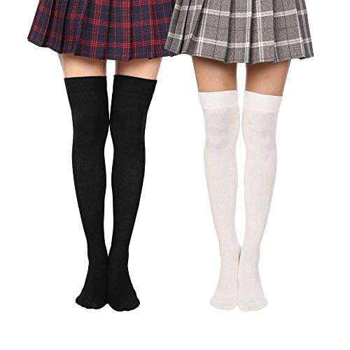 OxsOy Women Over Knee Thigh Socks Boot Thigh Socks High Knee Stockings Tube Cosplay Socks (Black/White) ()