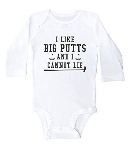 Baffle Funny Golf Onesies for Babies/I Like Big Putts and I Cannot Lie (Newborn, White Long Sleeve)