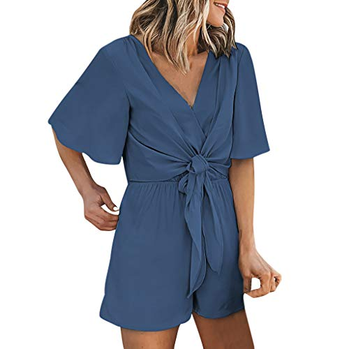 Pad Strip Washer Sleeve - Women's Summer Solid Short Romper Jumpsuit, Casual Flare Sleeve Wrap V Neck Tie Knot Front Elastic Waist Playsuit Blue