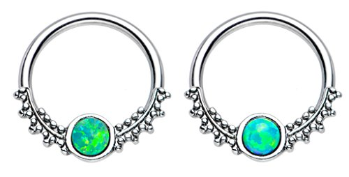 Pair of Synthetic Green fire Opal drops of dew tribal Captive bead Ring lip, belly, nipple, cartilage, tragus, septum, earring body Jewelry piercing hoop - 14 gauge, 1/2
