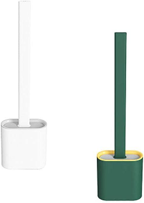 blanco y verde elegante Escobilla de inodoro para cuarto de ba/ño con soporte de secado r/ápido juego de escobilla de silicona para ba/ño o aseo de invitados Jingming duradero