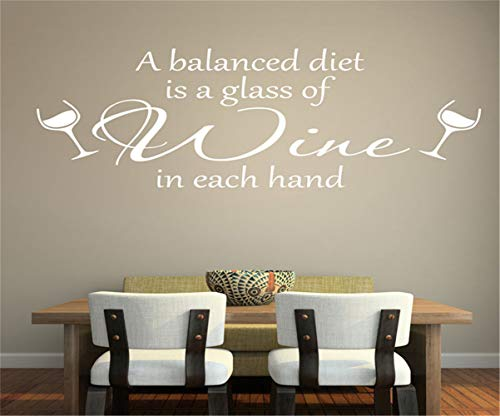 Vinyl Removable Wall Stickers Mural Decal Art Family Decals a Balanced Diet is a Glass of Wine in Each Hand for Kitchen Dining Room