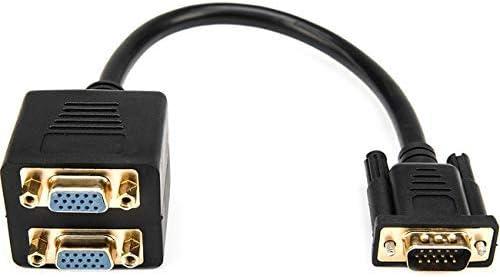 DB-15 Male Rocstor Premium 1 ft VGA to 2X VGA Video Splitter Cable M//F Black V DB-15 Female