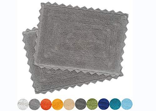 Urban Style Decor Bath Rugs Set of 2 100% Soft Reversible Crochet Border Cotton Bathmat Hand Tufted Non Slip 2200 GSM Quality (Rectangle 17 x 24/17 x 24 Set, Charcoal) (Bath Reversible Mats)